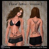 *Felicity* Tattoo - Floral Version 2 (Back/Spine, Belly/Lower Belly) (Maitreya Slink Appliers, Classic Avatar Layers)