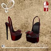 Afantasy HIGH SLINK Red & Black Studded 'Blayklee' Heels