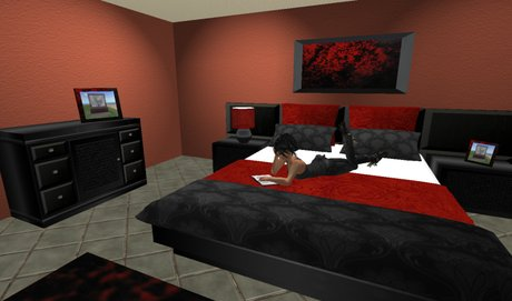 Second Life Marketplace Bedroom Set Complete Bed Cabinets Chairs Lamps Rug Flowers Tex Change Photoframe All In Black Red