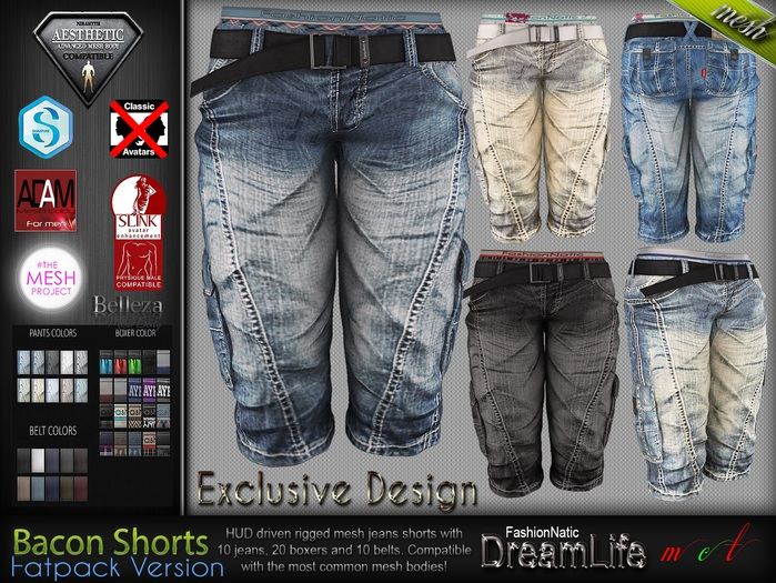 Bacon Male Mens Fatpack Denim Jeans Shorts Pants - Mesh - TMP, Adam, Slink, Aesthetic, Signature, Belleza Jake.