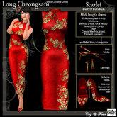 C&F Long Chinese Cheongsam BUNDLE - Scarlet Blossom