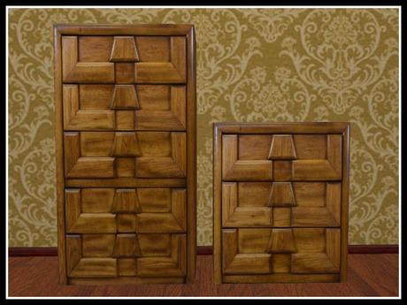 Second Life Marketplace Re Brutalist Dresser Set Wood Bedroom Furniture
