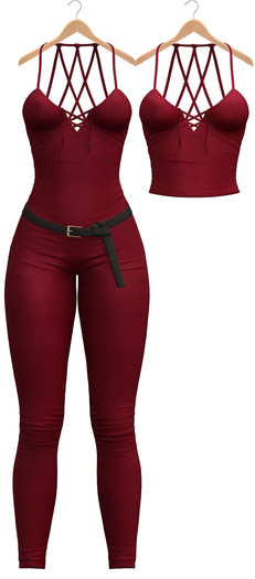Blueberry - Daisy Jumpsuit & Top - Maitreya Lara, Belleza Freya Isis Venus, Slink Physique Hourglass - Red