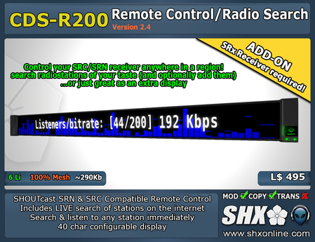 SHX - SRN/SRC - Remote Control/Radio Search - CDS-R200