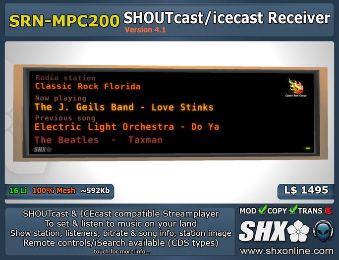 SHX - SHOUTcast & ICEcast Receiver SRN-MPC200
