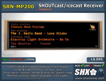 SHX - SHOUTcast & ICEcast Receiver SRN-MP200