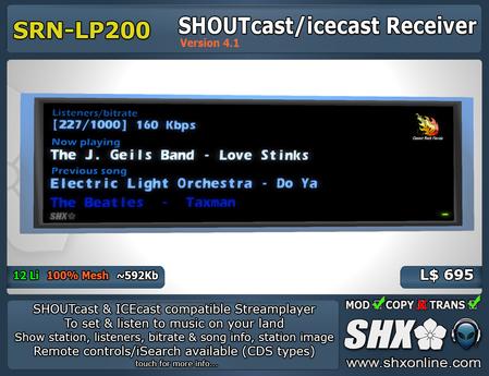 SHX - SHOUTcast & ICEcast Receiver SRN-LP200