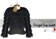 iS Fringed Crop Jacket BLACK