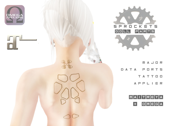 Second Life Marketplace Sprockets Major Data Ports Tattoo Maitreya Omega Applier Boxed