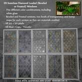 ER Seamless Diamond Leaded Beveled or Frosted Glass Texture Set with Materials
