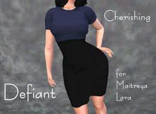 Defiant-cherishing-skirt and top-blue top