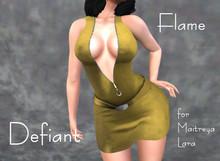 Defiant-flame-Zipper dress-yellow