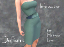 Defiant-infatuation-tube top dress w/bow-blue green
