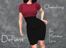 Defiant-cherishing-skirt and top-red top
