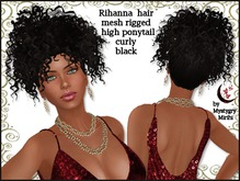 Rihanna mesh rigged curly hair high ponytail black