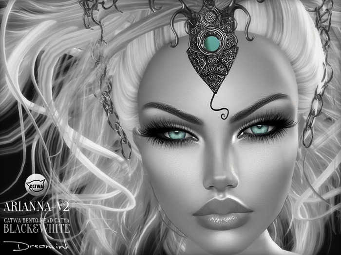 "DREAM INK ""Catwa Mesh Head Appliers ARIANNA_V2"" BW-Black&White"