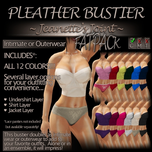 ~JJ~ Pleather Bustier (FATpack)