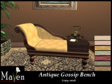 Discontinued - Antique Gossip Bench & Telephone Set - 7 Fabric Choices, Animated
