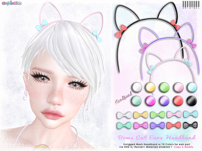 [ bubble ] Bows Cat Ears Headband