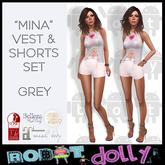 "Robot Dolly - ""Mina"" - Vest and Shorts set - Grey"