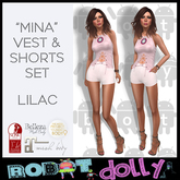 "Robot Dolly - ""Mina"" - Vest and Shorts set - Lilac"