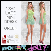 "Robot Dolly - ""Isa"" - Lace Mini Dress - Green"