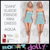 """Robot Dolly - """"Dani"""" - Suede Fringe Mini Dress - Aqua"""