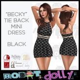 """Robot Dolly - """"Becky"""" - Tied Back Mini Dress - Black"""