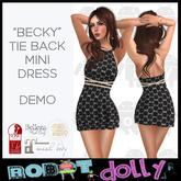 "Robot Dolly - ""Becky"" - Tied Back Mini Dress - DEMO"