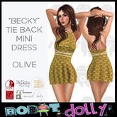 """Robot Dolly - """"Becky"""" - Tied Back Mini Dress - Olive"""