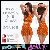 """Robot Dolly - """"Becky"""" - Tied Back Mini Dress - Orange"""
