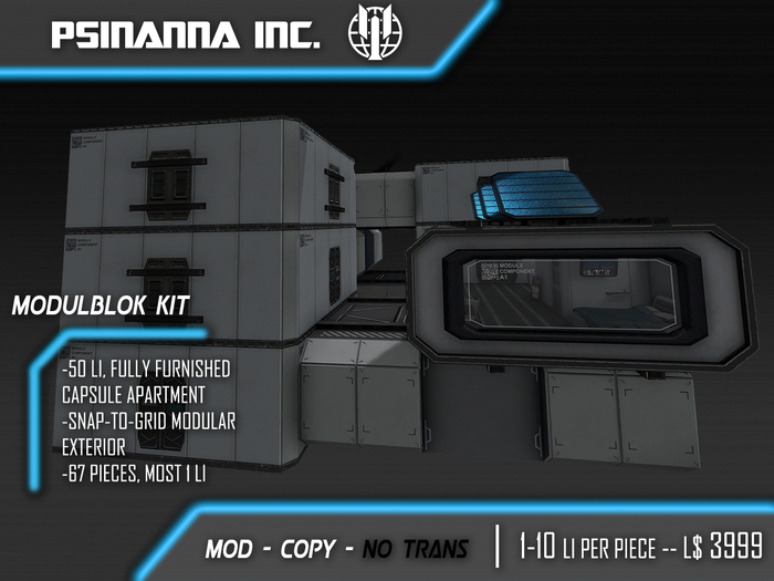 PsiNanna, Inc. Modulblok Kit + Furnished Sci-fi Apartment