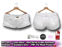 -VD- Hot Pants - Latex White - Fitted Mesh