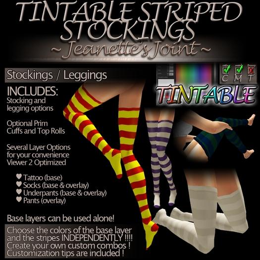 ~JJ~ Tintable Striped Stockings