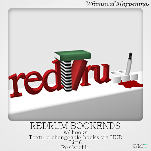 [Home Goods] - Redrum Bookends w/ HUD