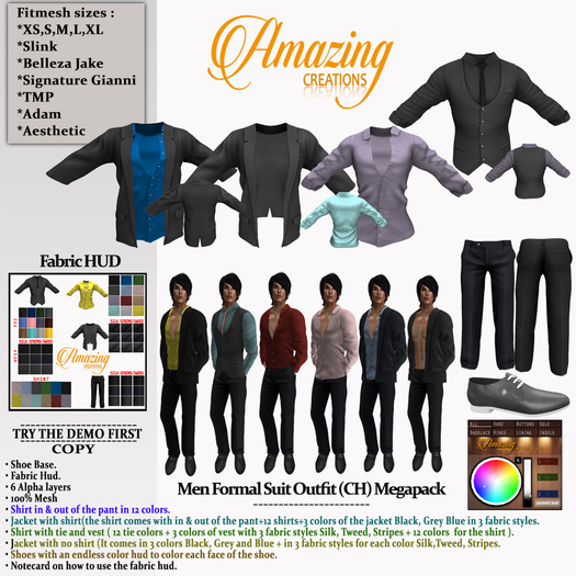 AmAzINg CrEaTiOnS Men Formal Suit Outfit (CH) Megapack