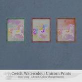 Cwtch. Watercolour Unicorn Prints