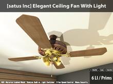 [satus Inc] Elegant Ceiling Fan With Light