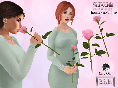 [SuXue Mesh] V2 Rose 3 AO Smelling Holding R Hand Thorny Thornless Resizable Transfer Pink