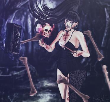 *!R.O!* Necromancer BENTO Pose w/ Mesh Wand, Skull, Book, Bones
