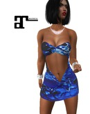 XK Maitreya Peek A Boo Dress Jagged Blue
