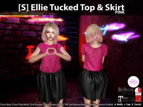 [S] Ellie Tucked Top & Skirt Pink