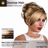 A&A Desiree Hair Variety Colors Pack.  Elegant womens updo with curls