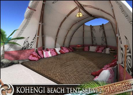HeadHunter's Island - Kohengi Beach Cuddle Tent v1.2 - 50(x5) multi-animations - white tiki pacific chill tent