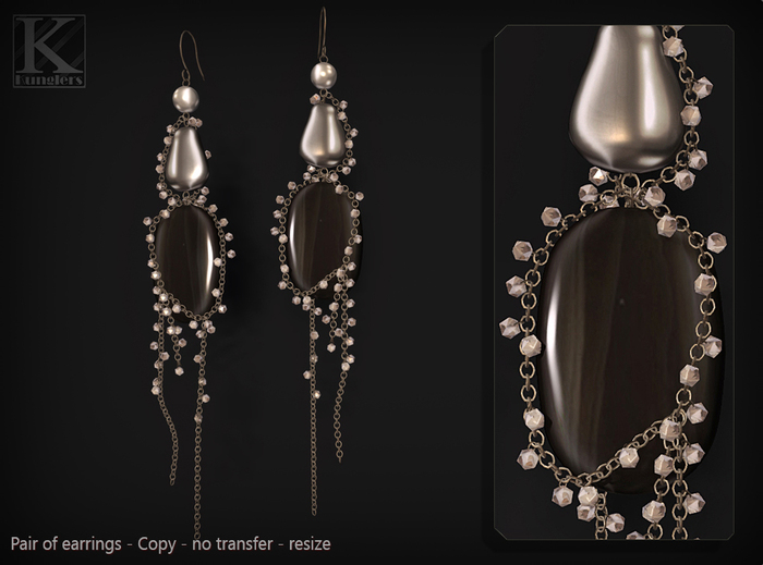 (Kunglers) Paty earrings - Onyx