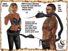 BENTO Snake 20 animated around the waist mesh rigged woman men