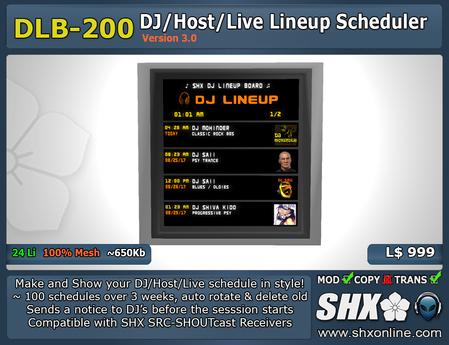 SHX-DLB-200 - DJ Lineup Board Scheduler