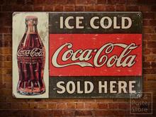 Coca Cola Rusty Vintage Metal Sign POSTER