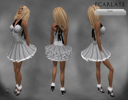 Ecarlate - Dress Gown Flower - Wihte-Black / Robe decontracte Blanche-Noire- Tyna