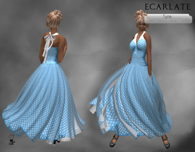 Ecarlate - Dress Gown Formal Flower - Light blue / Robe Bleu Claire - Tyna  (Longue)